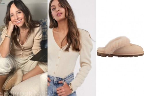lilliana vazquez, beige cardigan, fur slippers
