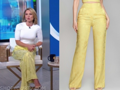 amy robach, yellow satin floral jacquard pants, good morning america
