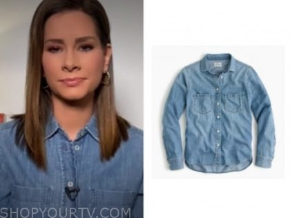 rebecca jarvis, good morning america, denim shirt