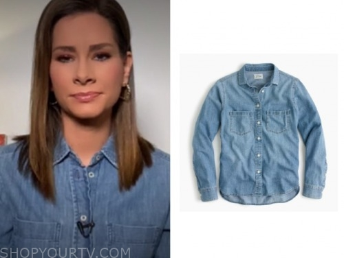 rebecca jarvis, good morning america, denim shirt