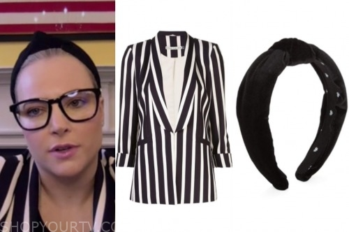 the view, meghan mccain, black and white stripe blazer, black headband