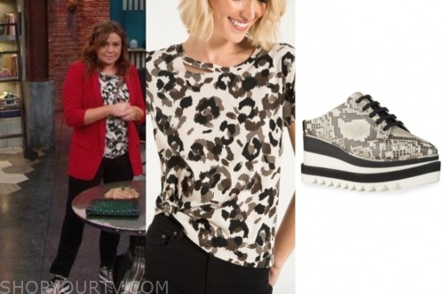 rachael ray, the rachael ray show, leopard tee, snakeskin platform sneakers