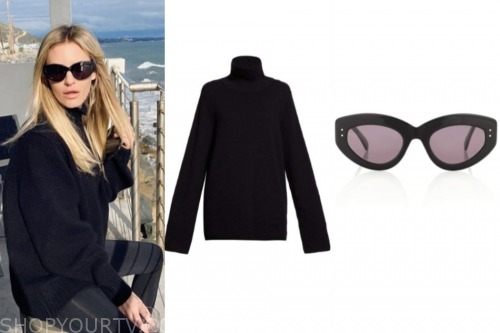 morgan stewart, E! news, black turtleneck, black sunglasses
