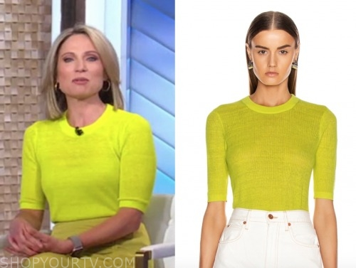 amy robach, gma, yellow short sleeve sweater