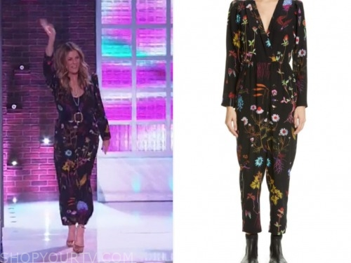 rita wilson, black floral jumpsuit, the kelly clarkson show