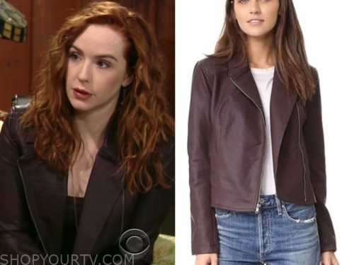 mariah copeland, camryn grimes, the young and the restless, purple leather jacket