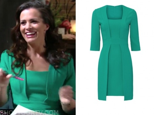 chelsea newman, melissa claire egan, the young and the restless, green sheath dress