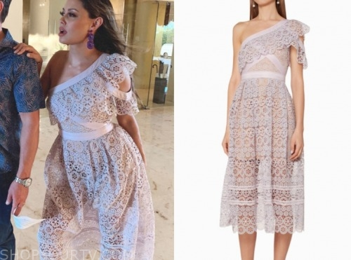 vanessa lachey, love is blind, lilac purple lace one-shoulder midi dress