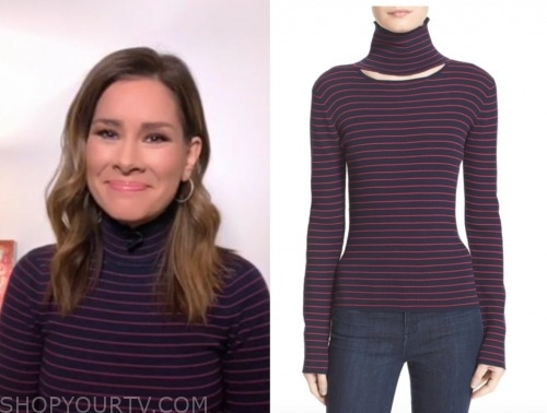rebecca jarvis, striped cutout turtleneck top, good morning america