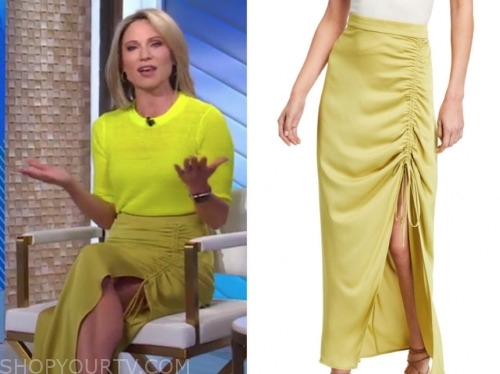 amy robach, good morning america, yellow drawstring skirt