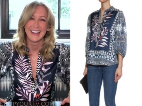 lara spencer, blue and white printed blouse, good morning america