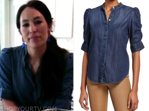 joanna gaines, good morning america, denim puff sleeve button down shirt
