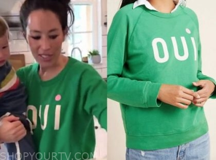 joanna gaines, green oui sweater, good morning america