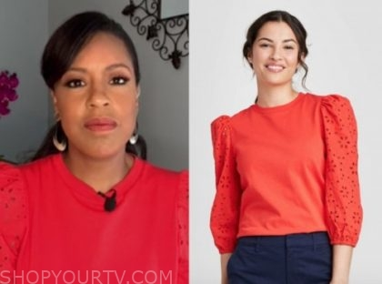 the today show, sheinelle jones, red eyelet sleeve sweater