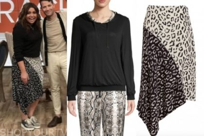 the rachael ray show, black hoodie, black and white leopard skirt