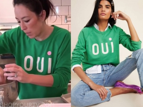"""the today show, joanna gaines, green """"oui"""" sweater"""