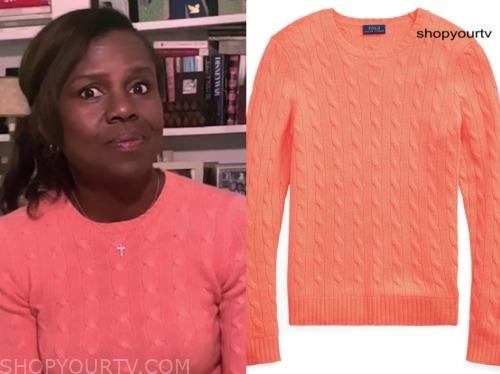 deborah roberts, coral cable knit sweater, good morning america