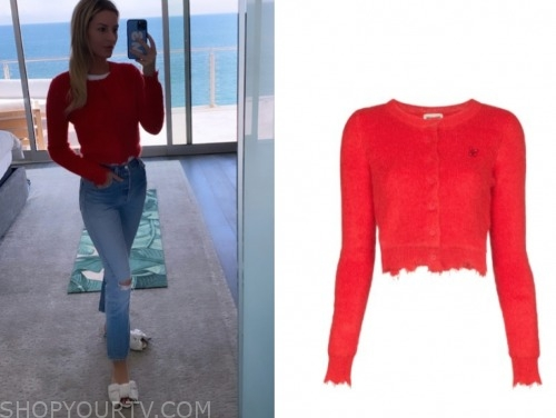 E! news, morgan stewart, red distressed cardigan