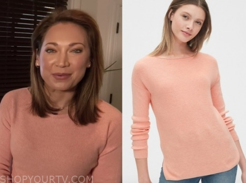 ginger zee, peach boatneck sweater, good morning america