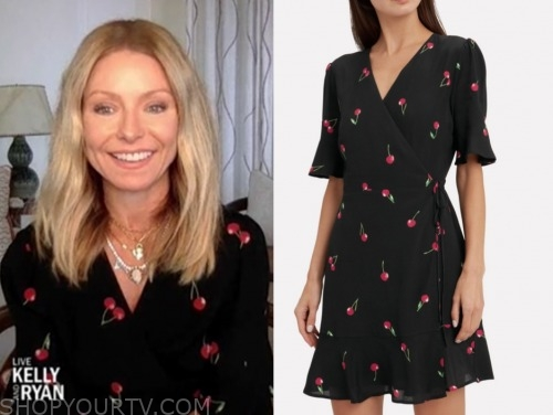 kelly ripa, black cherry print dress, live with kelly and ryan