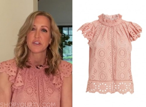 lara spencer, pink eyelet top, good morning america