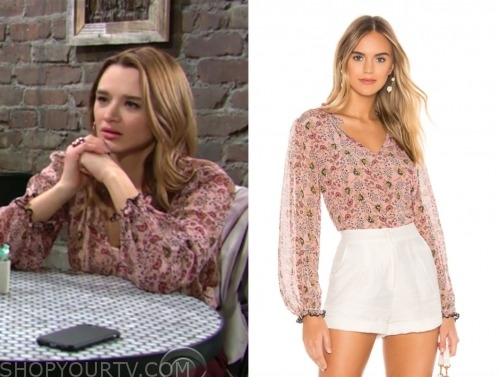 summer newman, the young and the restless, hunter king, pink floral blouse