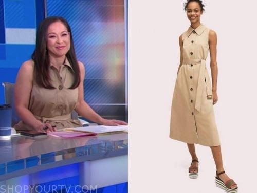 eva pilgrim, beige trench dress, good morning america