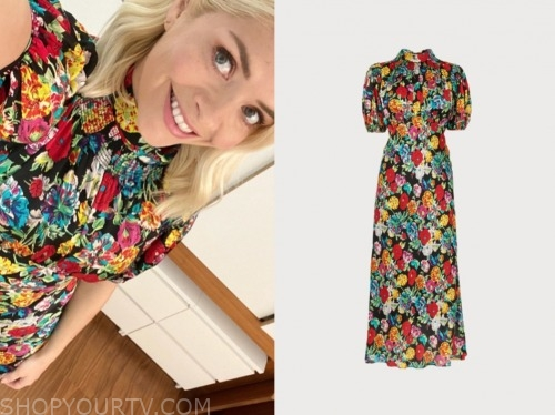 holly willoughby, this morning, floral midi dress