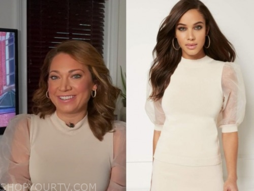 ginger zee, ivory organza knit top, good morning america
