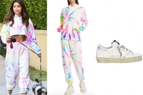 hannah ann sluss, tie dye hoodie and sweatpants, star sneakers
