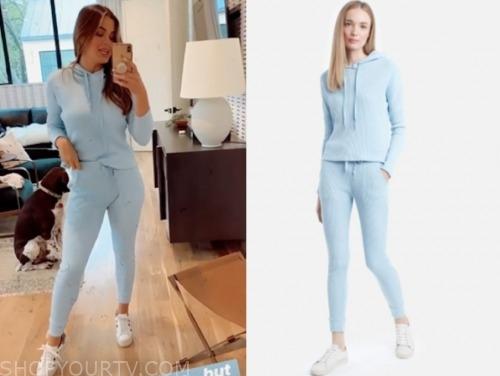jojo fletcher, light blue hoodie and sweatpants, the bachelorette