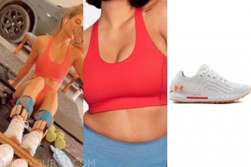 jojo fletcher, the bachelorette, red sports bra, sneakers