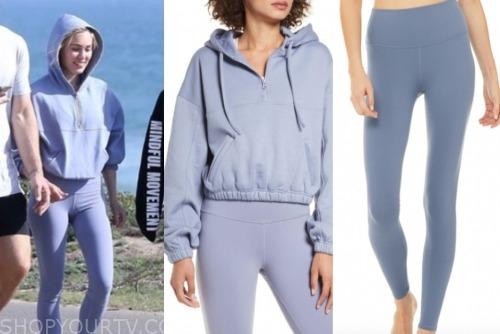 cassie randolph, blue hoodie, blue leggings, white sneakers