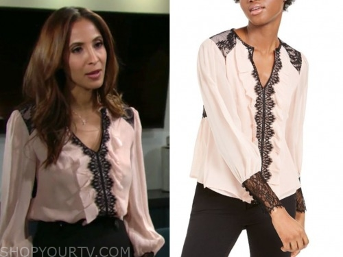 lily ashby winters, the young and the restless, lace trim blouse, christel khalil
