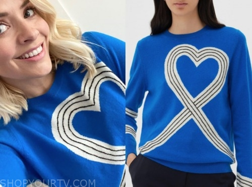 holly willoughby, this morning, blue printed sweater