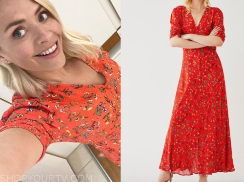 holly willoughby, this morning, orange floral midi dress
