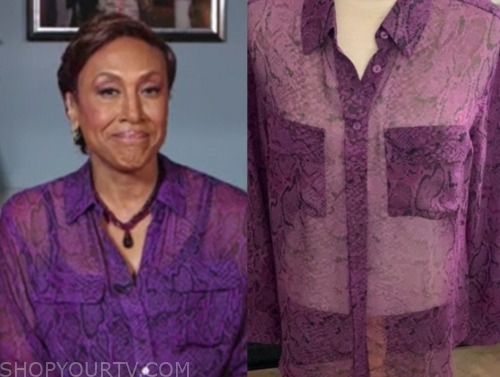 robin roberts, good morning america, purple python blouse