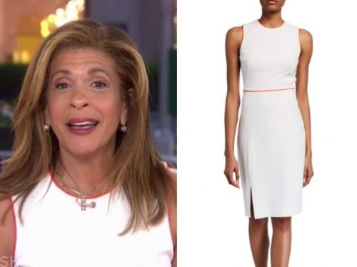 the today show, hoda kotb, white contrast trim sheath dress