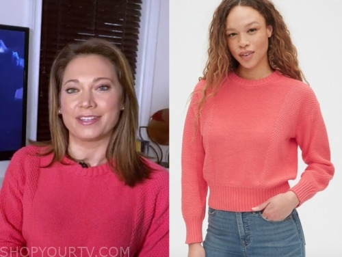 ginger zee, pink textured sweater, good morning america