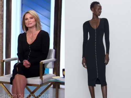 amy robach, black sweater dress, good morning america