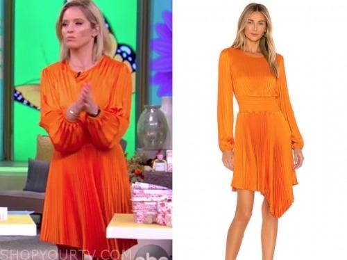 sara haines, orange pleated dress, the view
