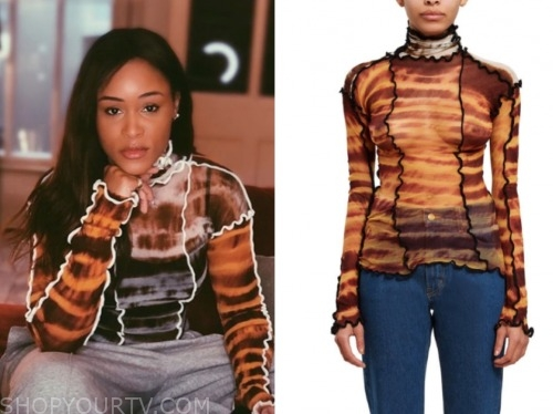 eve, the talk, orange printed turtleneck