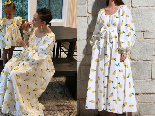 tia mowry, lemon print maxi dress