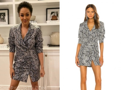 tia mowry, family reunion, grey snakeskin blazer dress