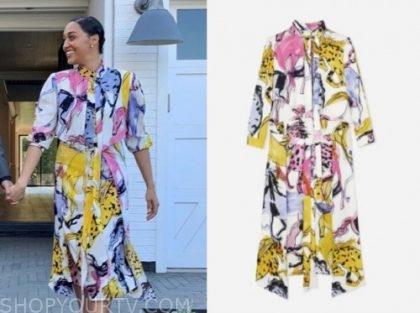tia mowry, family reunion, printed midi dress