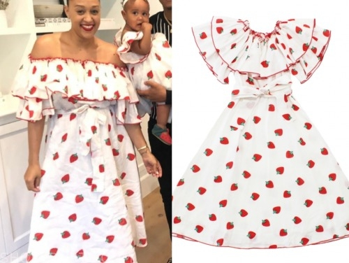 tia mowry, family reunion, strawberry print dress