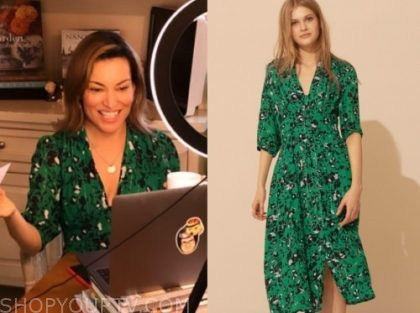 kit hoover, access hollywood, green floral midi dress