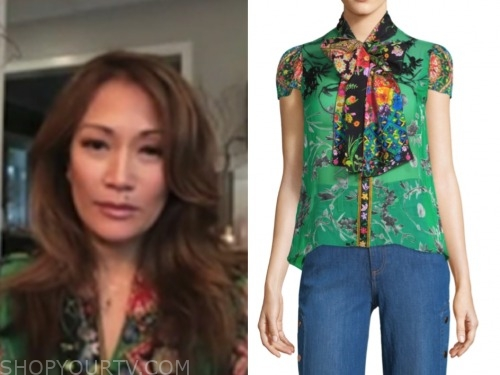 the talk, carrie ann inaba, green floral blouse
