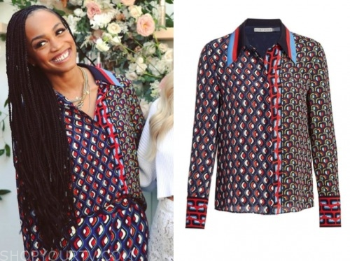 rachel lindsay, the bachelorette, printed blouse and pants