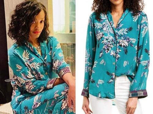rachel lindsay, teal blue floral blouse, the bachelorette